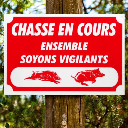 """Panneau  """"CHASSE EN COURS"""" en Akilux 60 x 40 cm"""