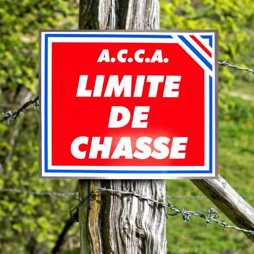 """Panneau """"A.C.C.A. LIMITE DE CHASSE"""" tricolore en aluminium 30 x 25 cm"""