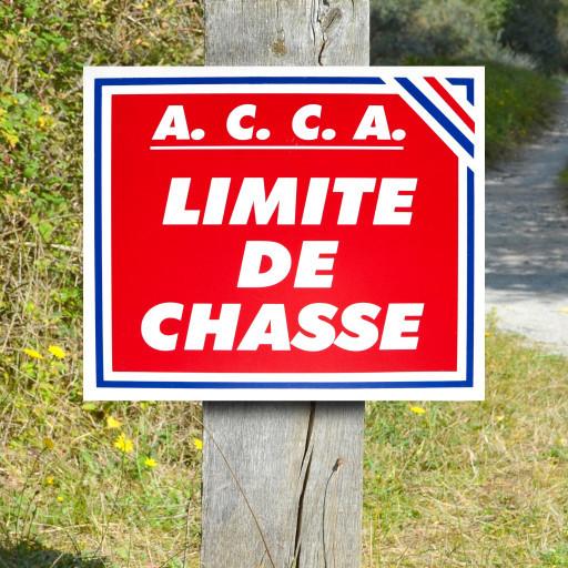 """Panneau """"A.C.C.A. LIMITE DE CHASSE"""" tricolore en Polypropylène 0.8 mm 30 x 25 cm"""