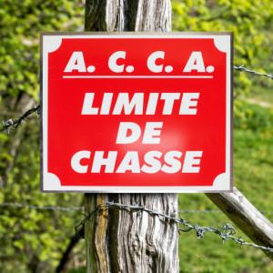 """Panneau """"A.C.C.A. LIMITE DE CHASSE"""" en aluminium 30 x 25 cm"""