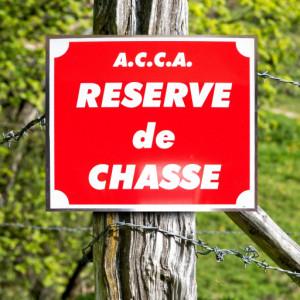 """Panneau """"A.C.C.A RÉSERVE DE CHASSE"""" en aluminium 30 x 25 cm"""