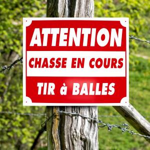"""Panneau """"ATTENTION CHASSE EN COURS, TIR A BALLES"""" en aluminium 30 x 25 cm"""