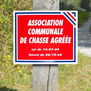 "Panneau ""ASSOCIATION COMMUNALE DE CHASSE AGREEE"" en Polypropylène 0.8 mm 30 x 25 cm"