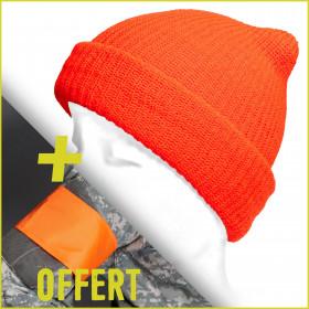 Bonnet de chasse orange fluo + brassard offert