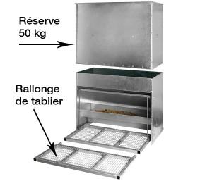 Mangeoire de 80 Kg avec la rallonge de tablier