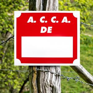 """Panneau """"A.C.C.A. DE ..."""" en aluminium 30 x 25 cm"""