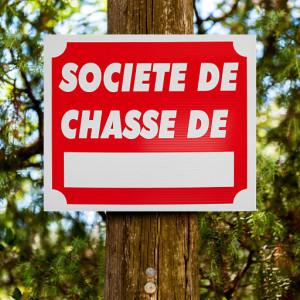 """Panneau """"SOCIÉTÉ DE CHASSE DE..."""" en Akilux 30 x 25 cm"""