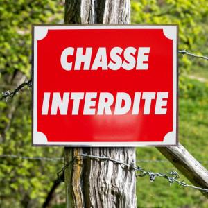 """Panneau """"CHASSE INTERDITE"""" en aluminium 30 x 25 cm"""